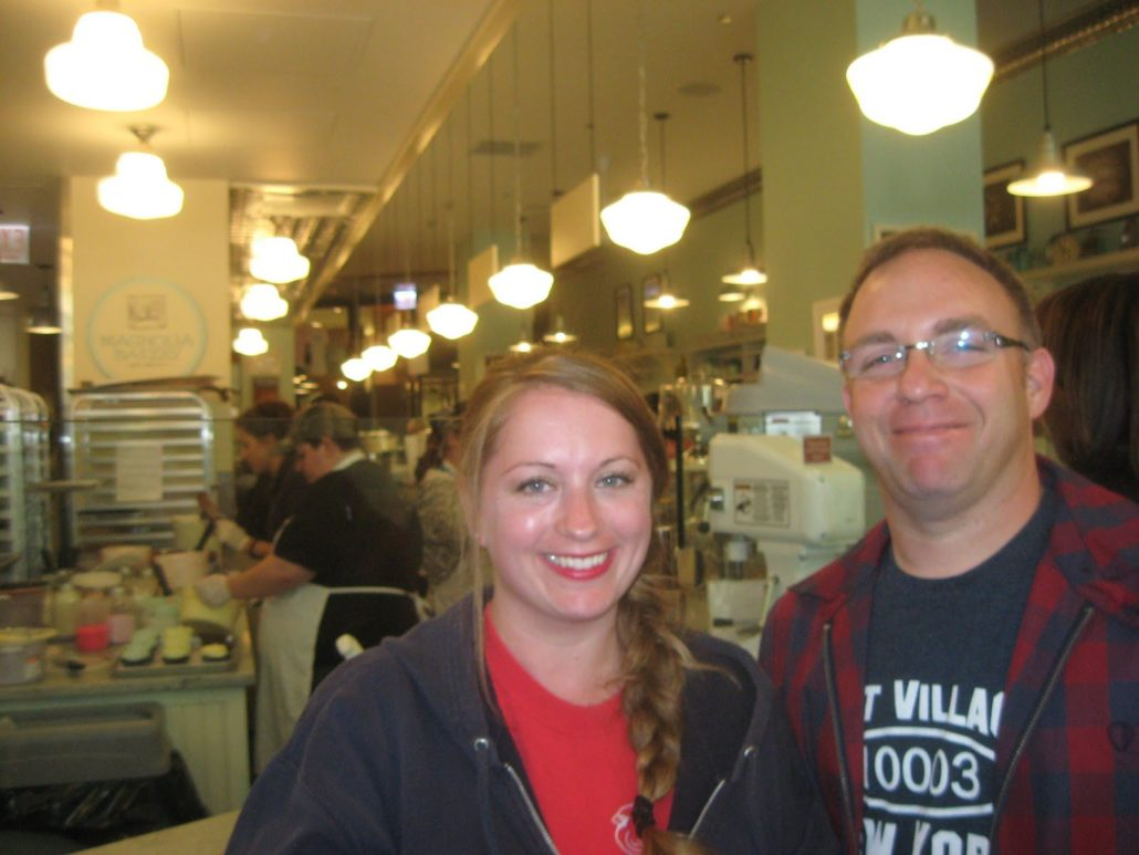 Chef and Cupcake at the opening of Magnolia Bakery in downtown, Chicago. A few years later, I would be the General Manager there.